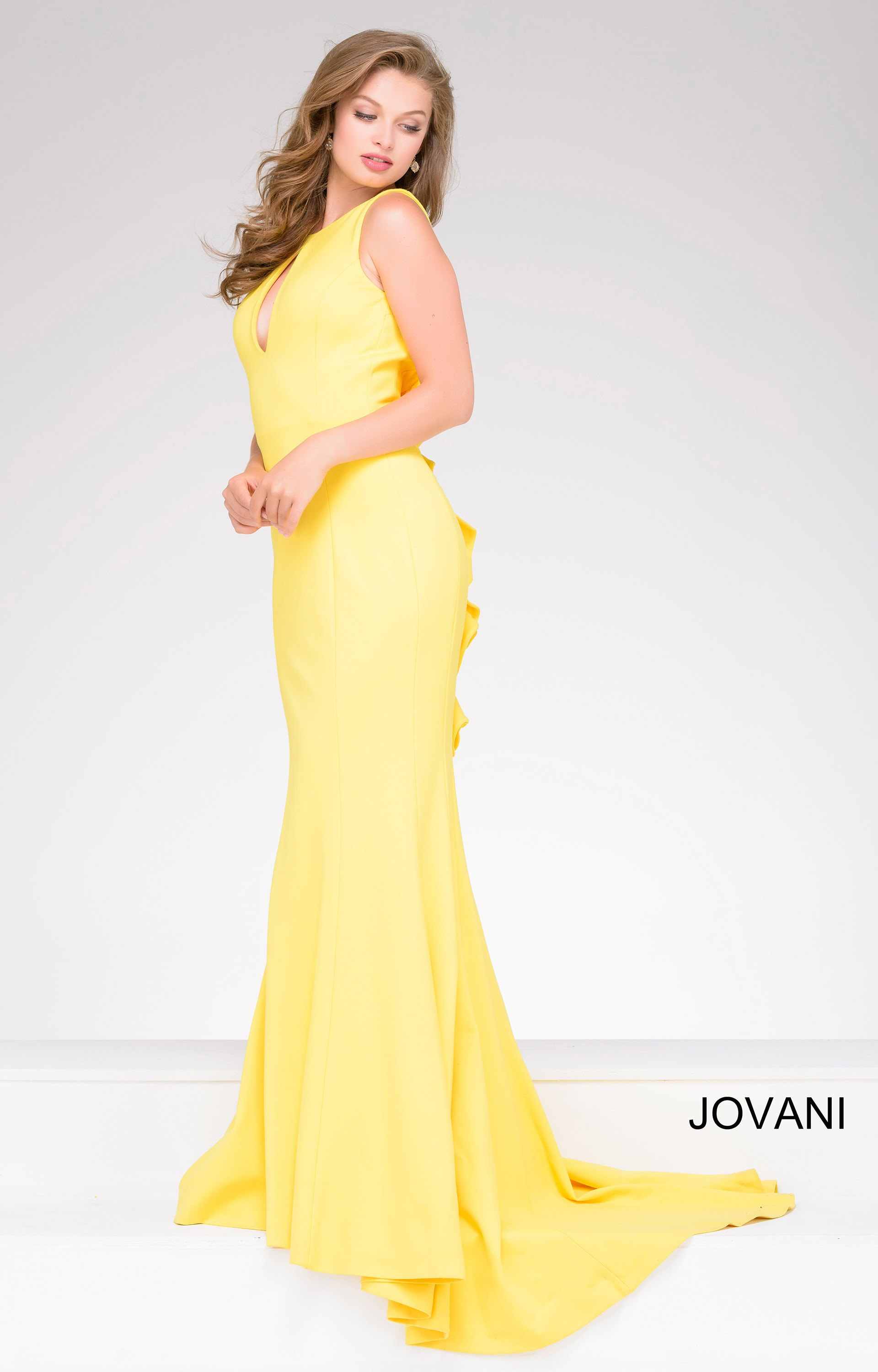 Jovani 49420 Long Fitted Evening Gown With A Ruffle