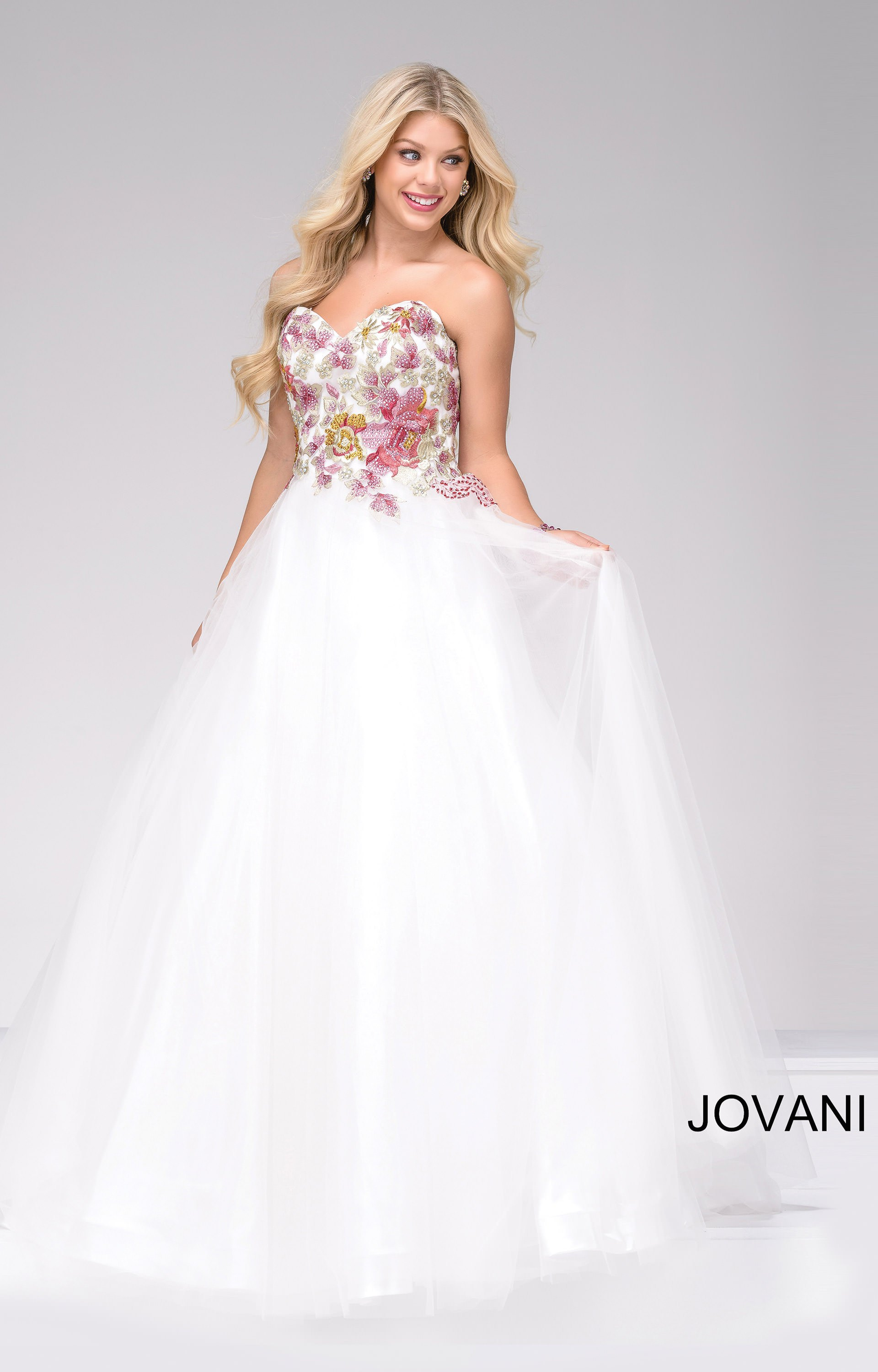 Jovani 49616 Strapless Embroidered Floral Ballgown Prom