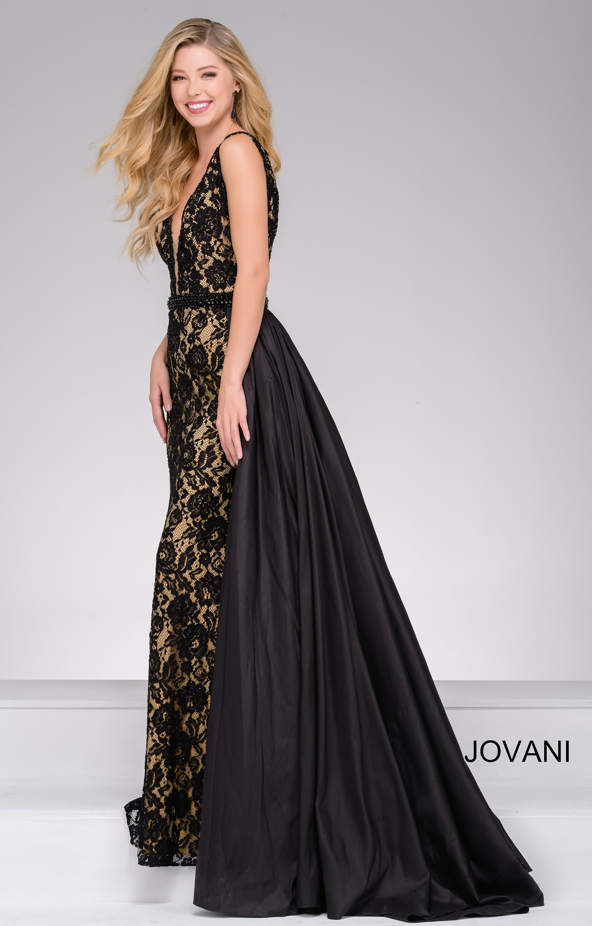 Jovani 49639 - Cape Train with Lace Overlay Prom Dress