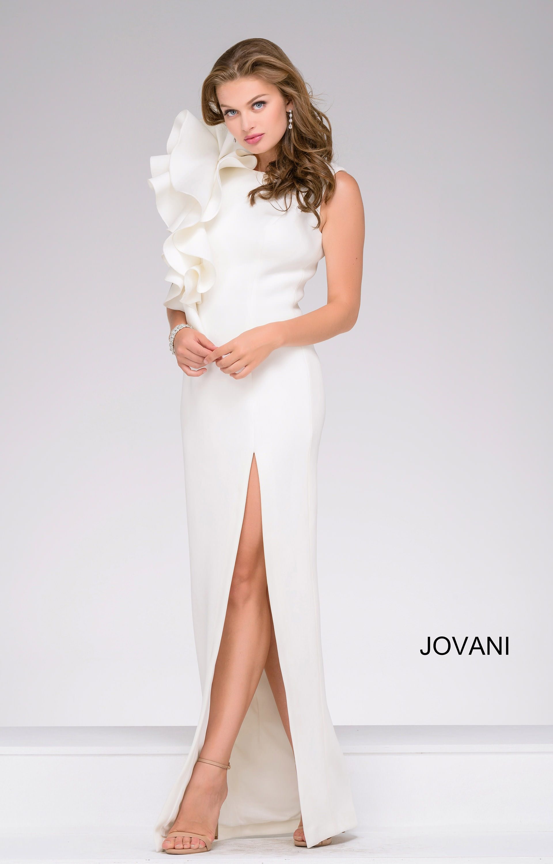 Jovani 49868 - Our Inner Carrie Flutter Shoulder Dress with Slit ...