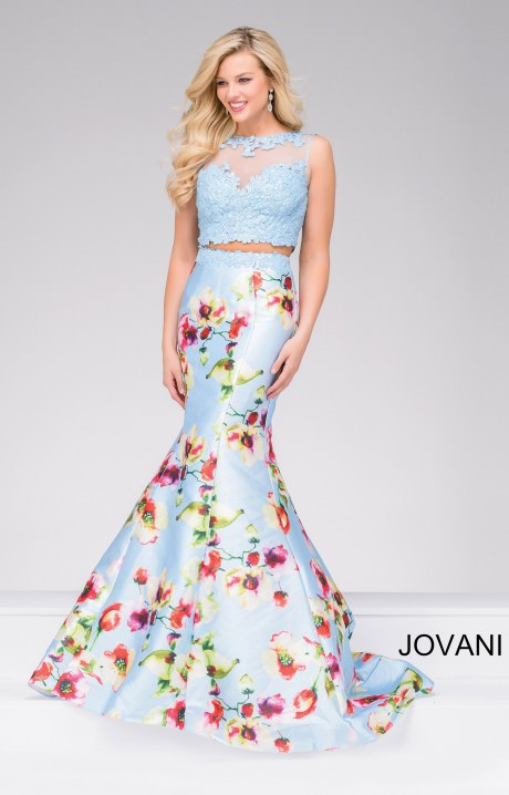Jovani 49989 - Lace Halter Top Mermaid 2 Piece Dress Prom Dress