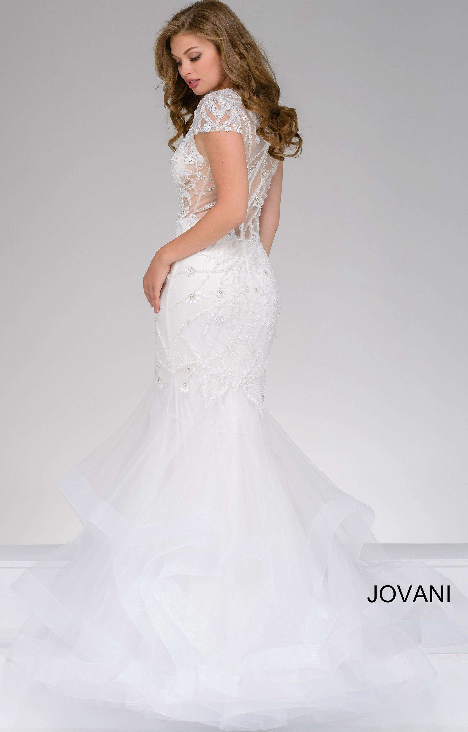 Jovani 50220 Capped Sleeve Sheer And Beaded Mermaid