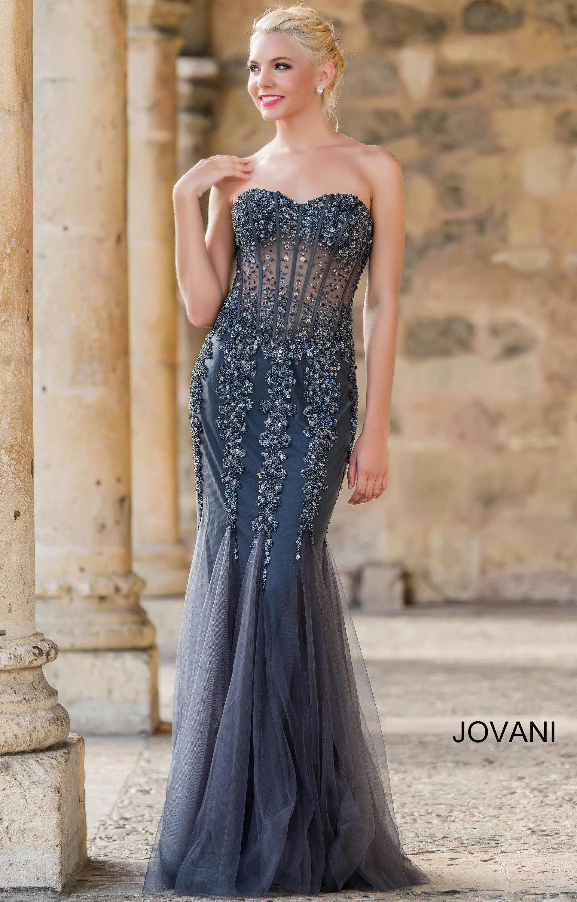 Jovani 5908 Crystal Sweetheart Strapless Mermaid Dress