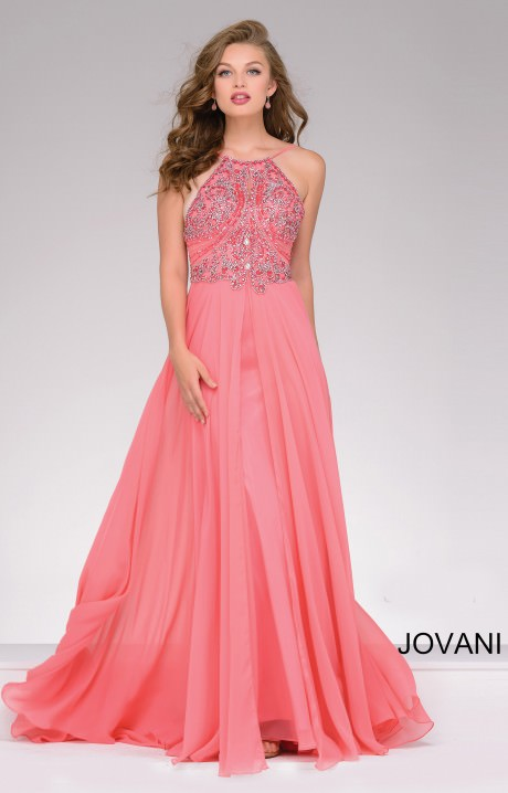 Jovani 92605 Beaded Top With Flowy Chiffon Skirt Prom Dress