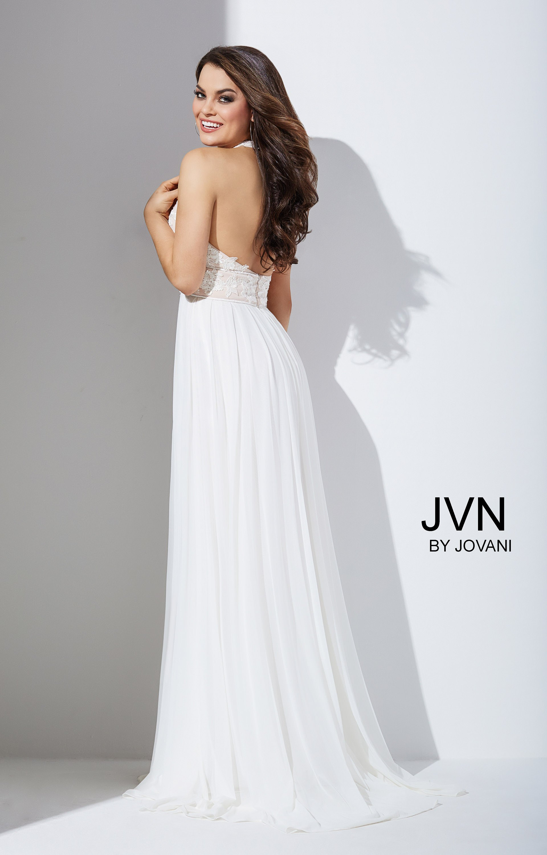 Jovani Jvn33922 Halter Gown With Lace Applique And