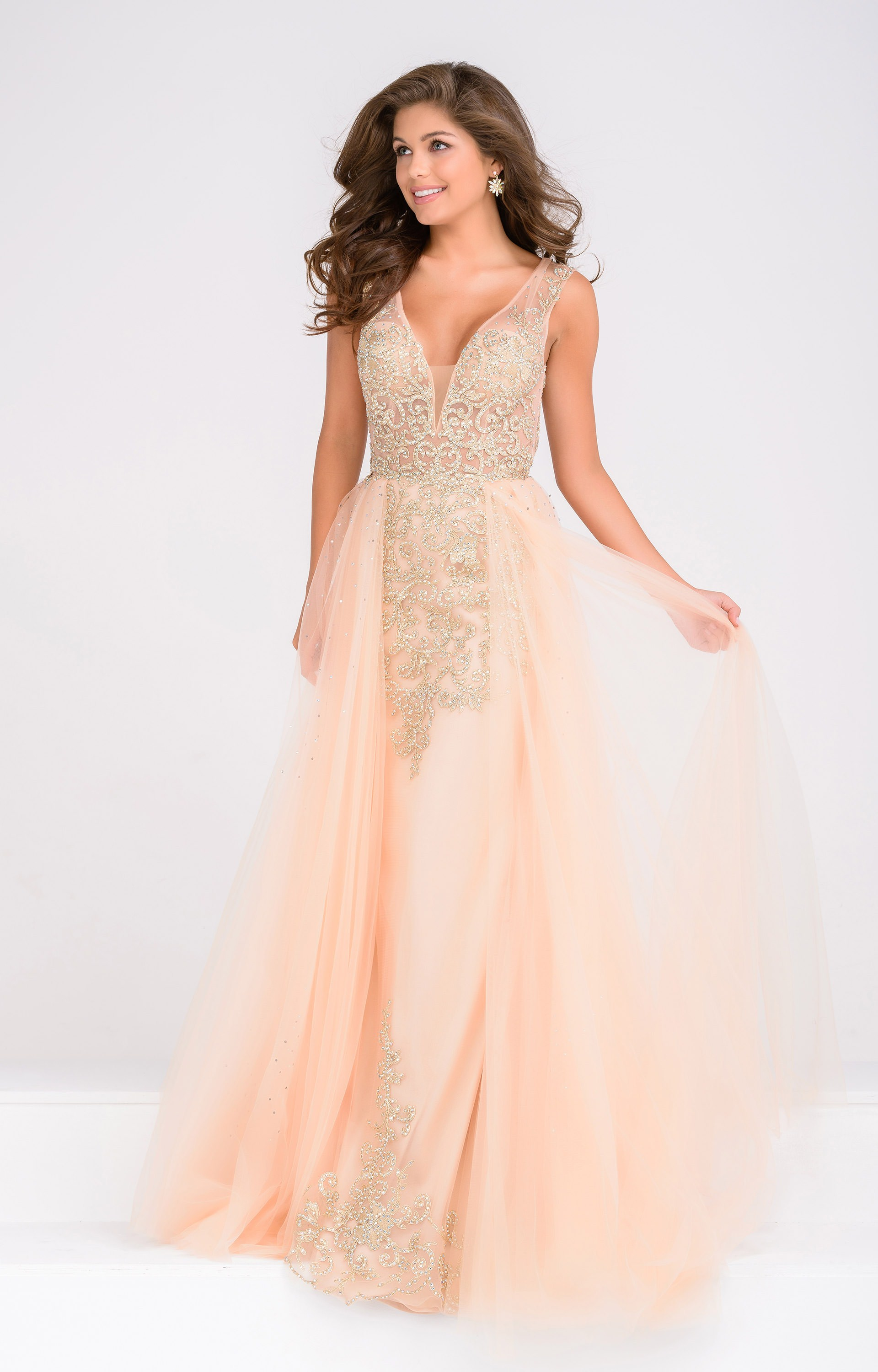 b9306410d9f9 Long Beaded V-Neck. Look remarkable in Jovani jvn41677! This flawless formal  gown ...