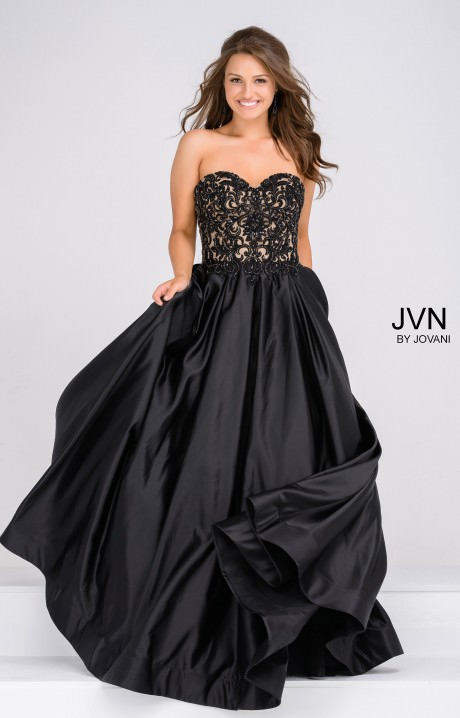 Jovani Jvn45591 Strapless Sweetheart Ball Gown With Lace