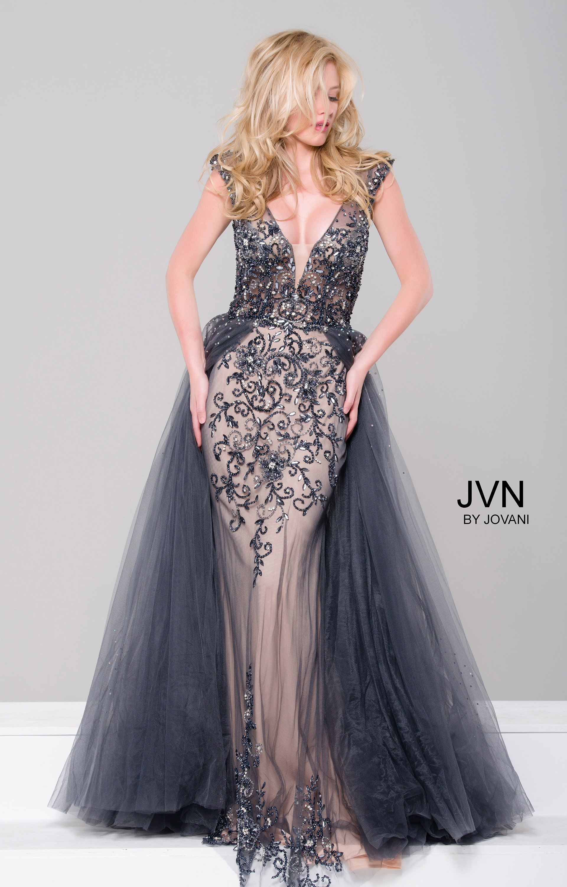 Jovani jvn46081 - Extravagant Floor Length Gown with Cape Skirt Prom ...