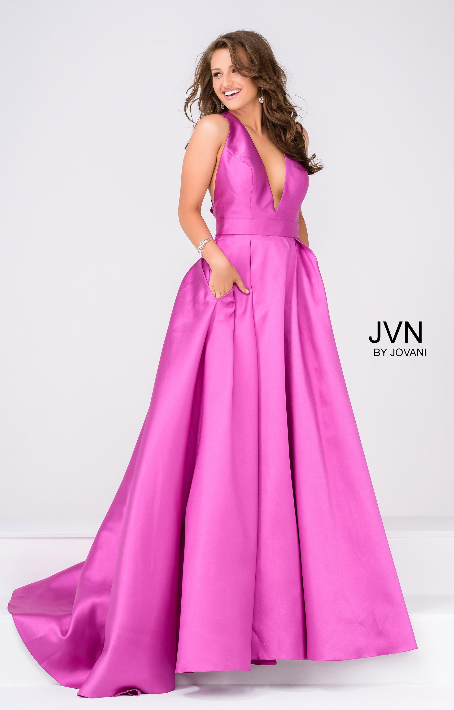 Jovani jvn47530 - Deep V Ball Gown with Pockets Prom Dress