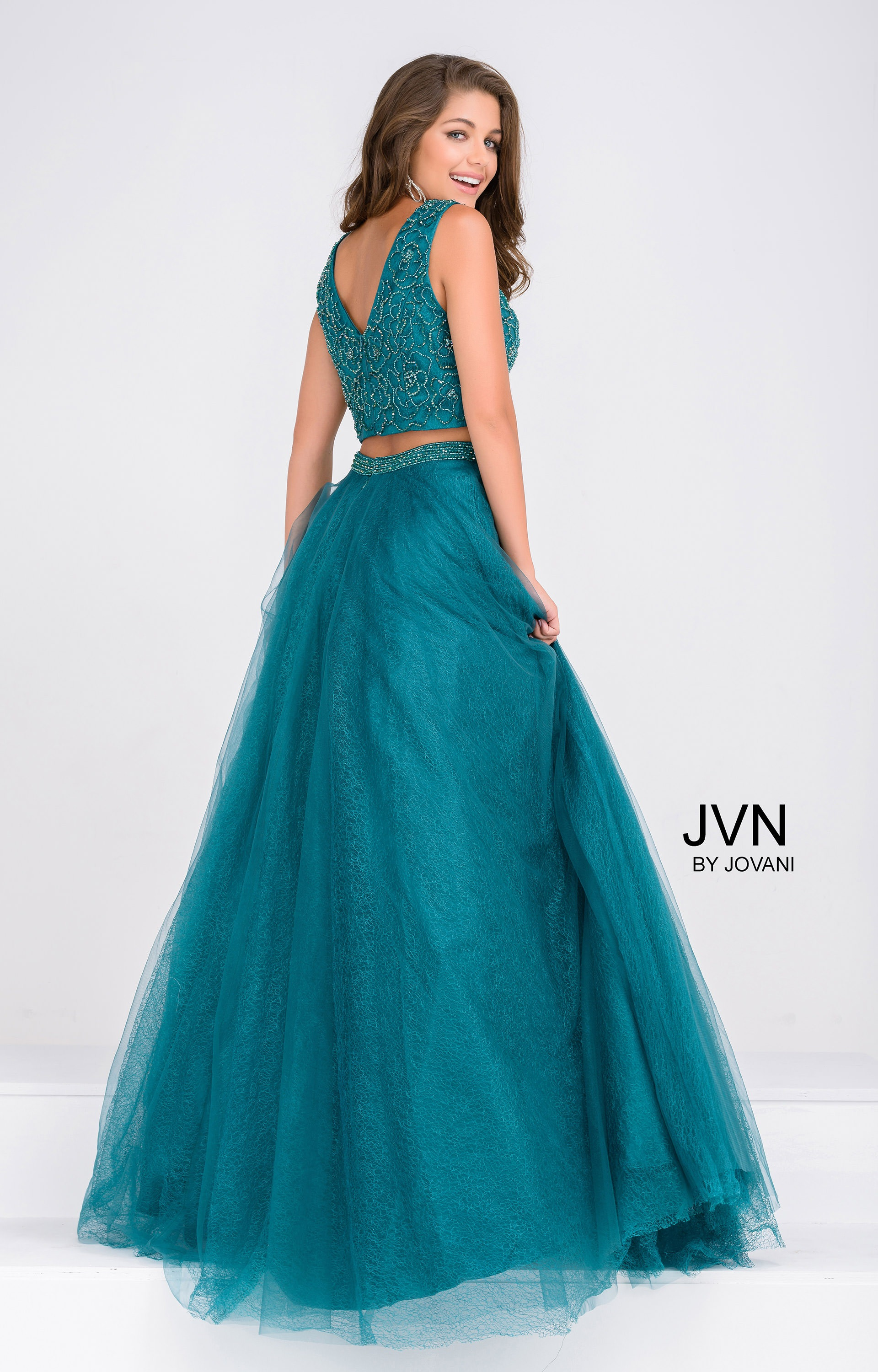 Jovani jvn47919 - Sleeveless Two-Piece with Lace Applique and ...