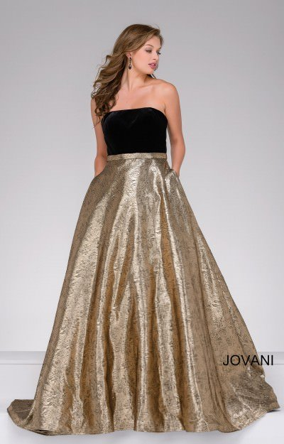 Velvet Strapless top with a Metallic Skirt Ball Gown