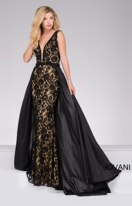 Jovani 49639 Cape Train With Lace Overlay Prom Dress