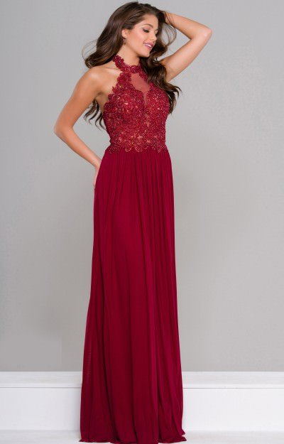 Chiffon with Illusion and Lace Halter Neckline