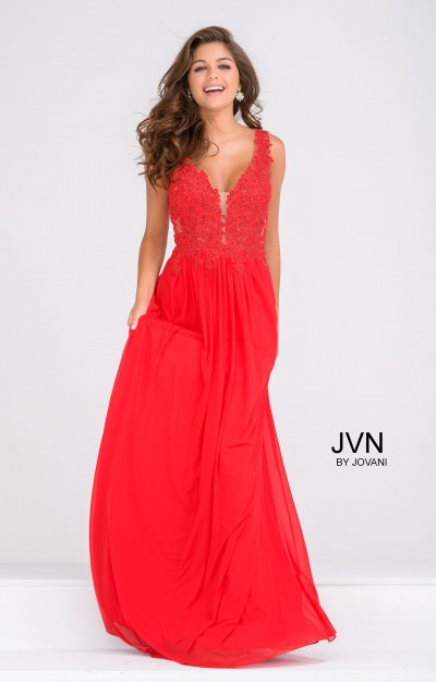 Sleeveless A-Line Chiffon with Crystals and Lace