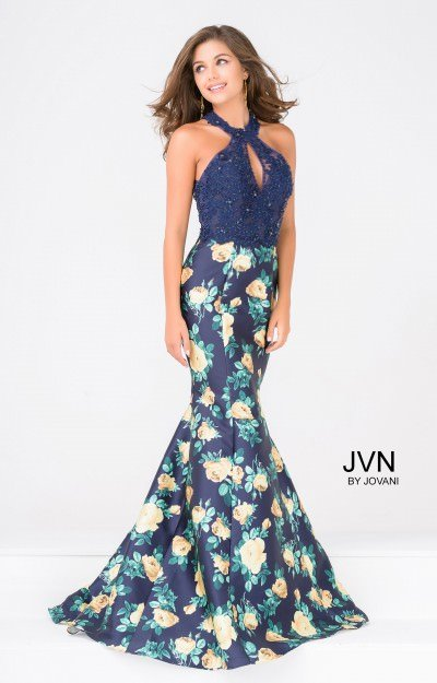 Floral Mermaid with Lace Halter Neckline