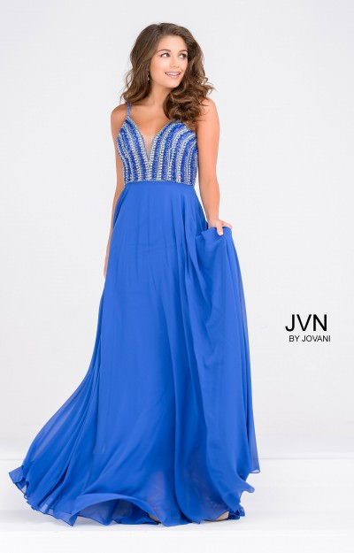 Sleeveless Low Cut A-Line Chiffon with Open Back and Crystals