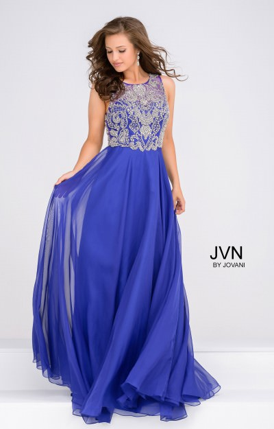 High Neck Beaded Chiffon Gown