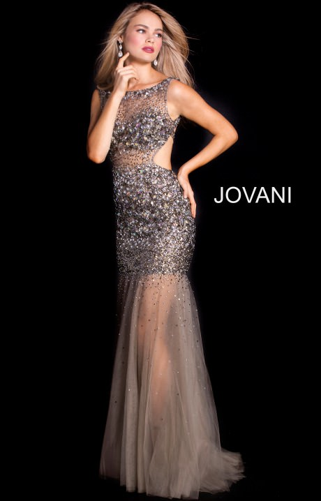Jovani 171100 High Neckline Fitted Open Back Beaded