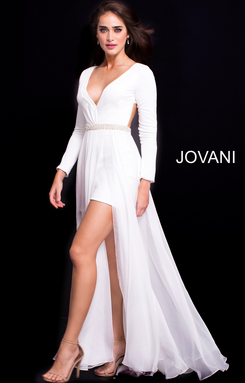 c6ff5a9b268 Jovani 49266 - Long Sleeved Romper Prom Dress
