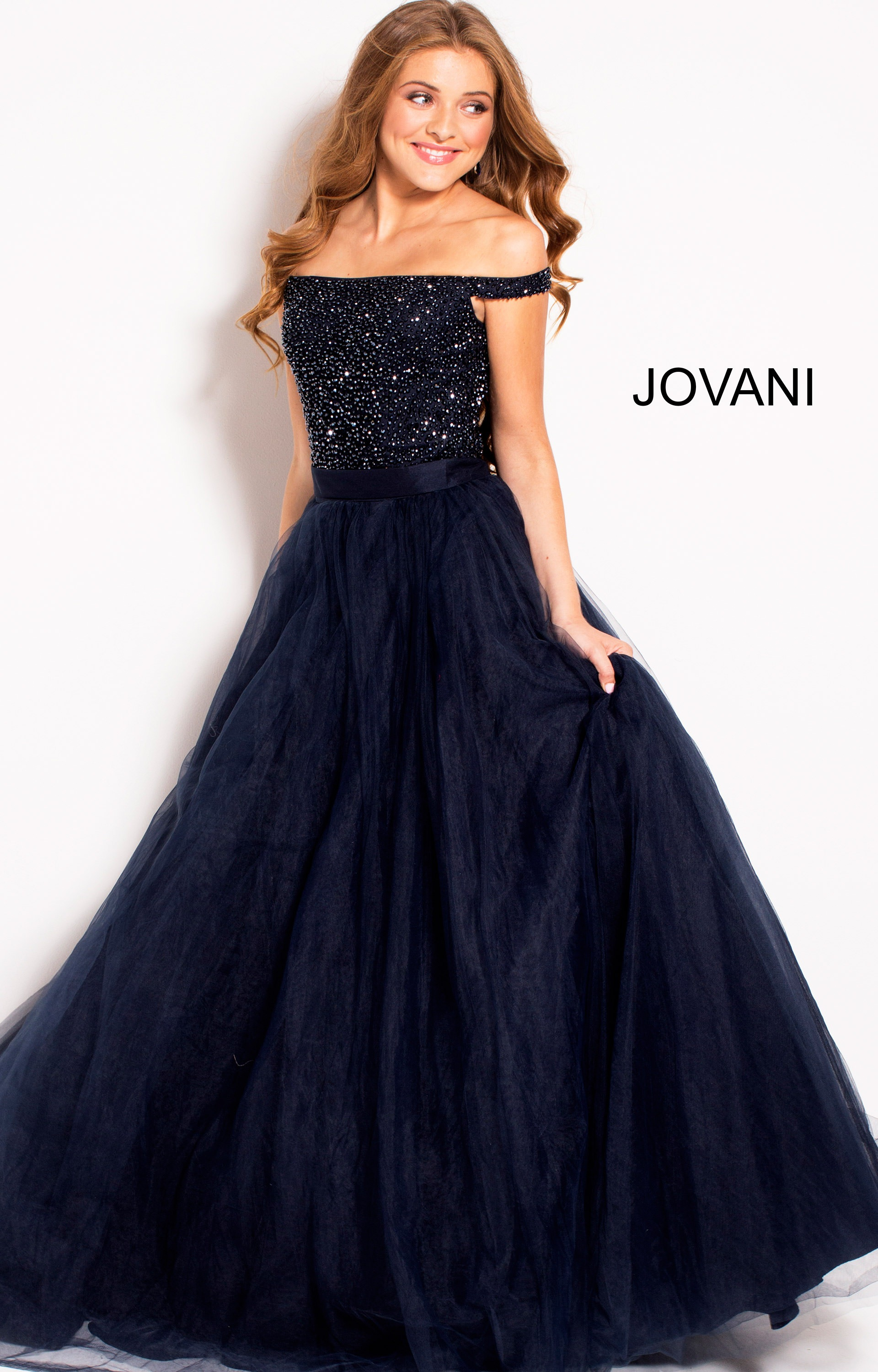 Jovani 50616 - Off the Shoulder Ball Gown Prom Dress