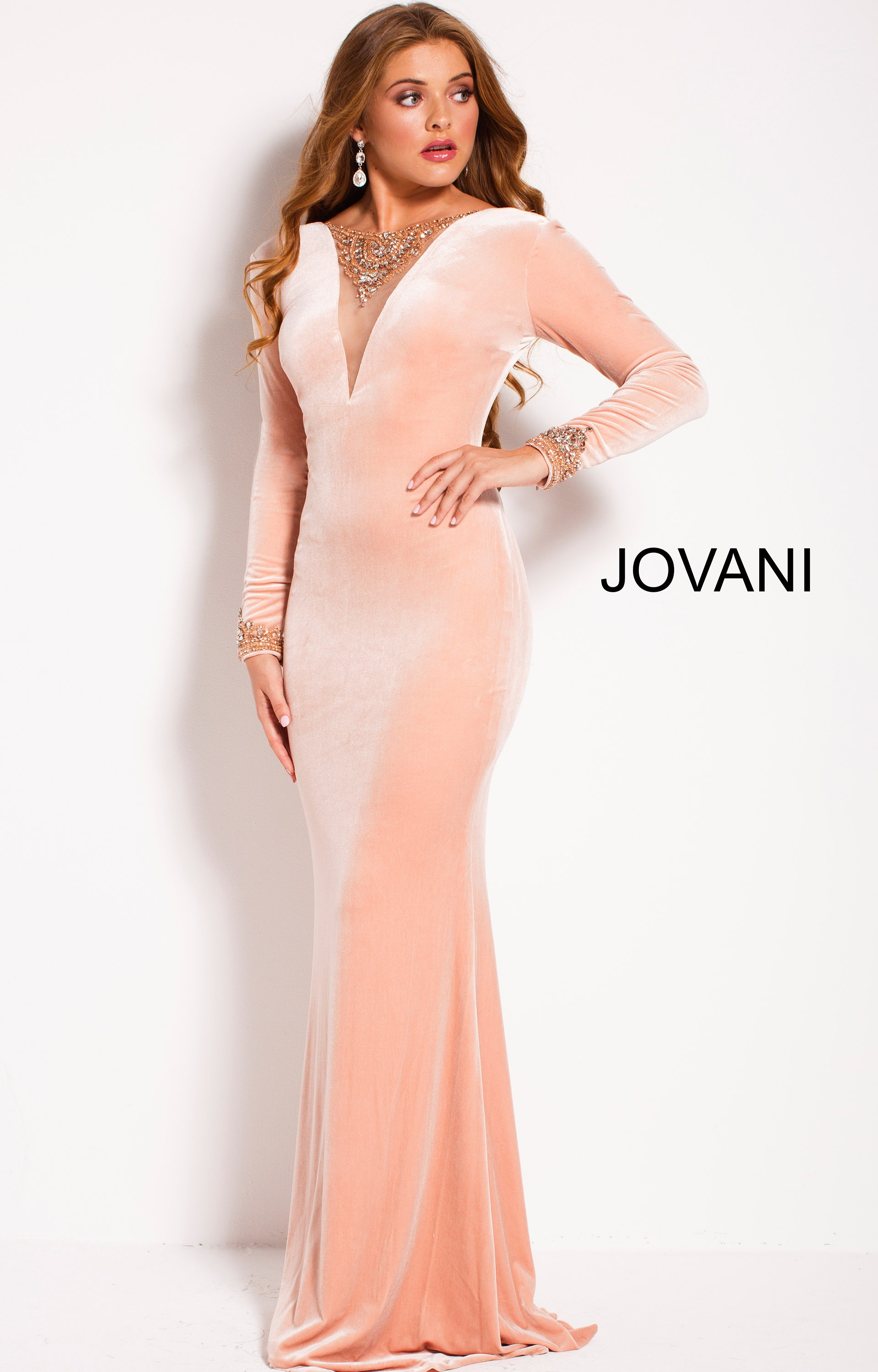 Jovani 4247 Silver nude fitted long beaded high slit