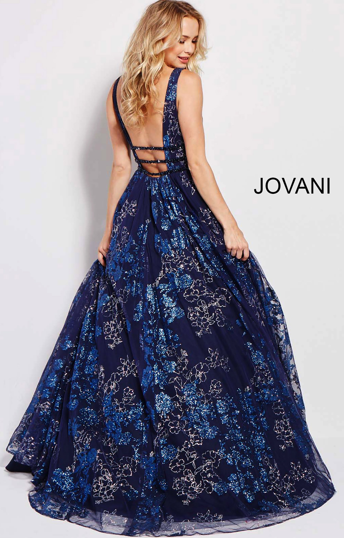 Jovani 52143 Deep V Neckline Open Back Ball Gown Prom Dress