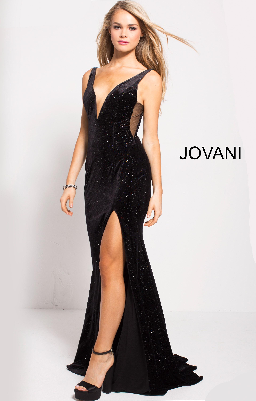 Jovani 52157 - V-Neckline Velvet Fitted Gown Prom Dress