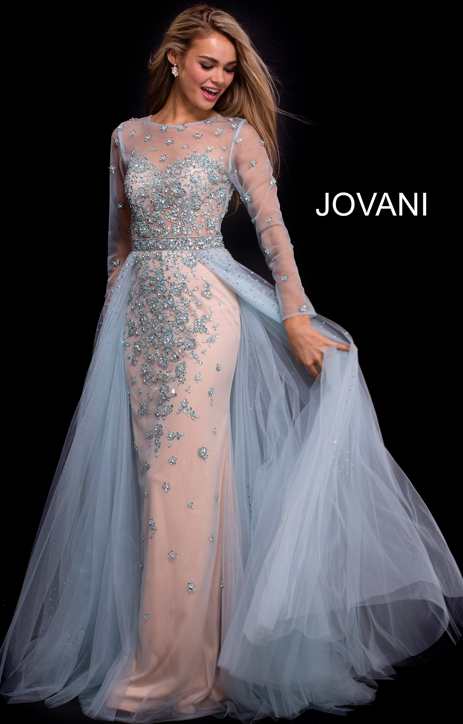 Jovani White Long Sleeve Dress