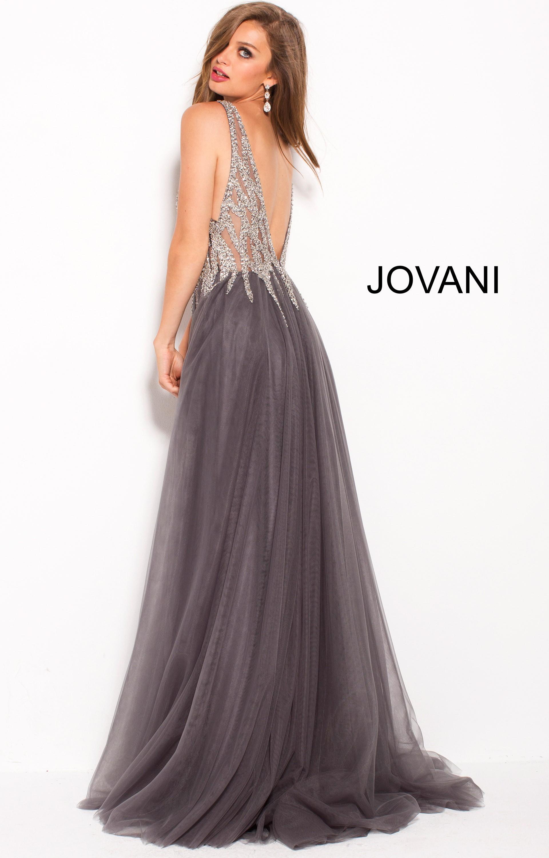 Jovani 54873 V Neck Open Back High Slit Prom Dress