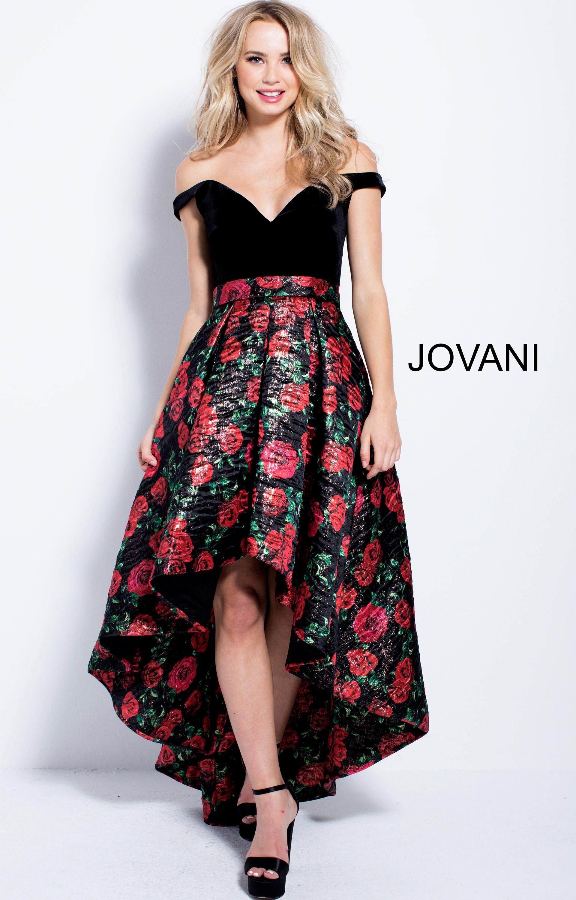 Jovani 55057 Off The Shoulder Rose Printed High Low