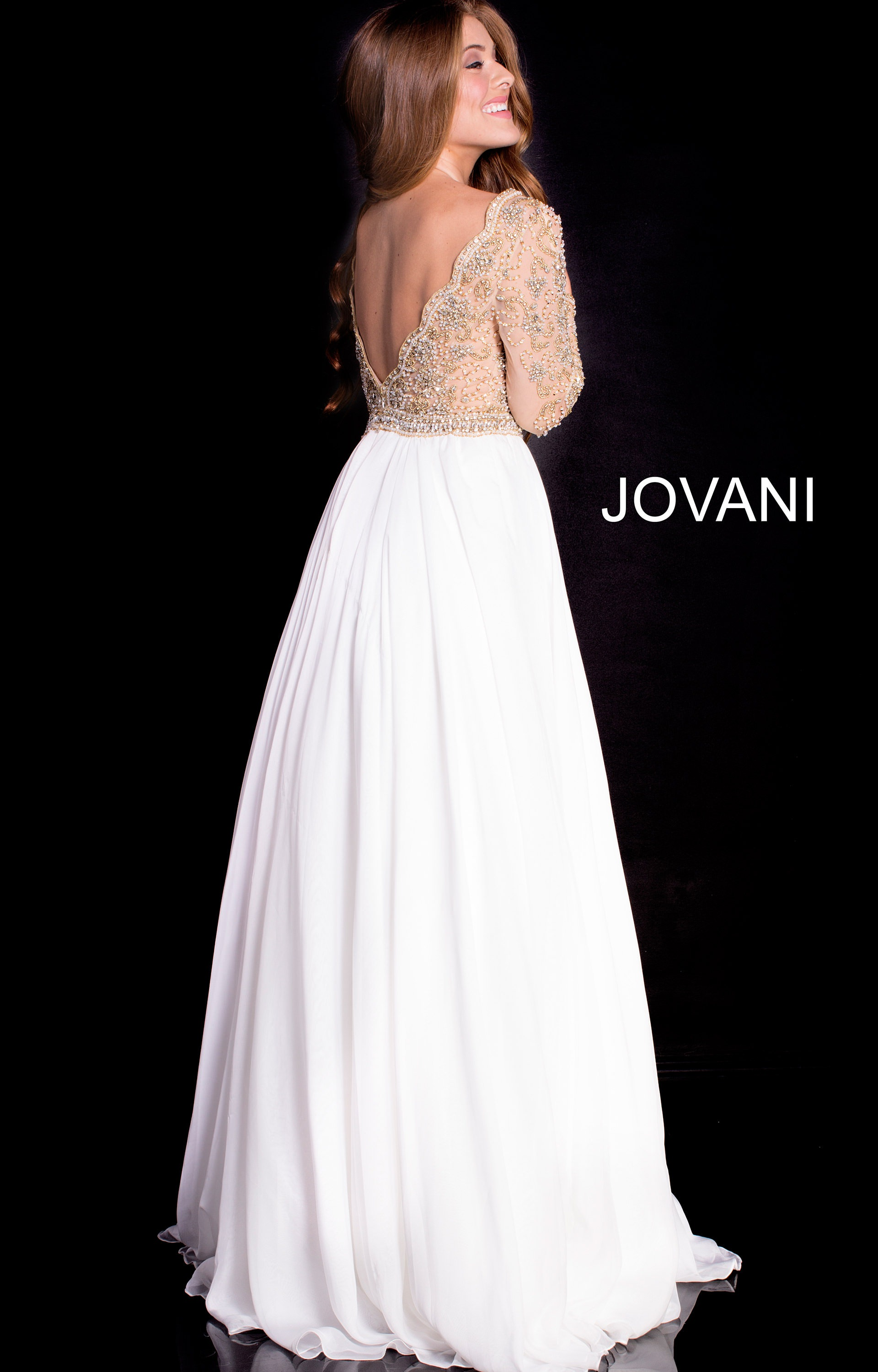 Jovani 55207 - Beaded Long Sleeve A-Line Gown Prom Dress