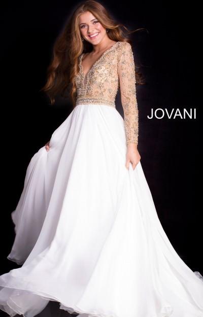 8867ea0cc7e Jovani 55207. Beaded Long Sleeve A-Line Gown  850.00
