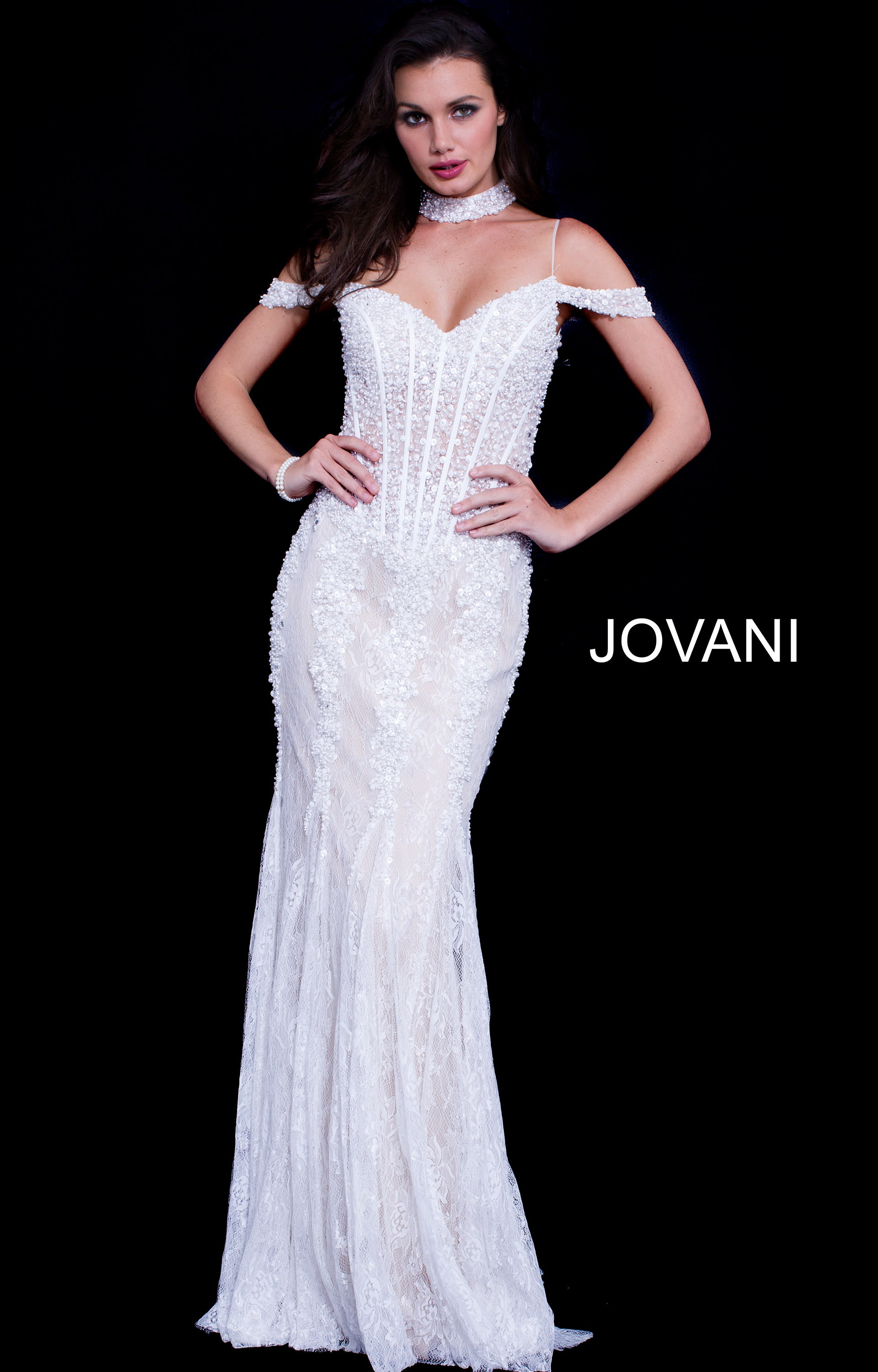 Jovani 55251 - Sweetheart Gown with Off the Shoulder and Choker ...