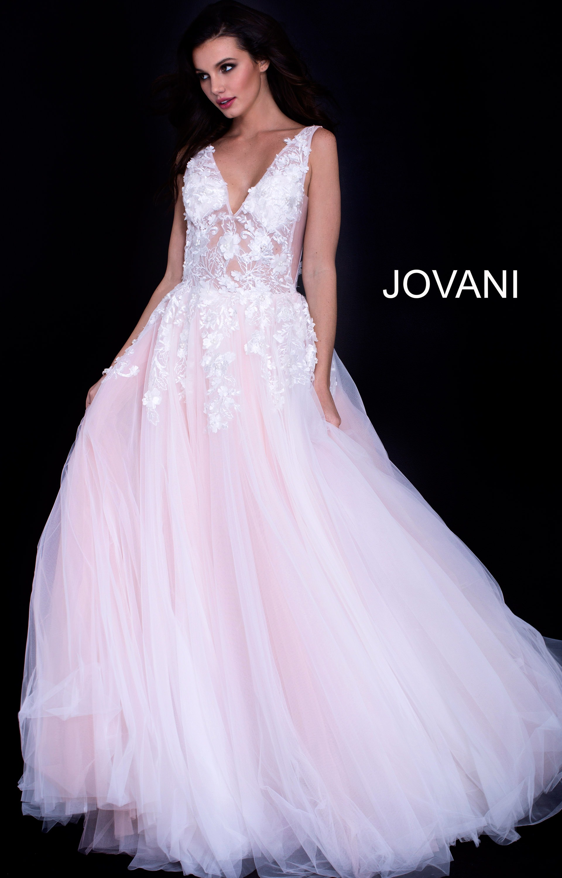 Jovani 55634 - V-Neckline Lace sheer Bodice Tulle Ball Gown Prom Dress