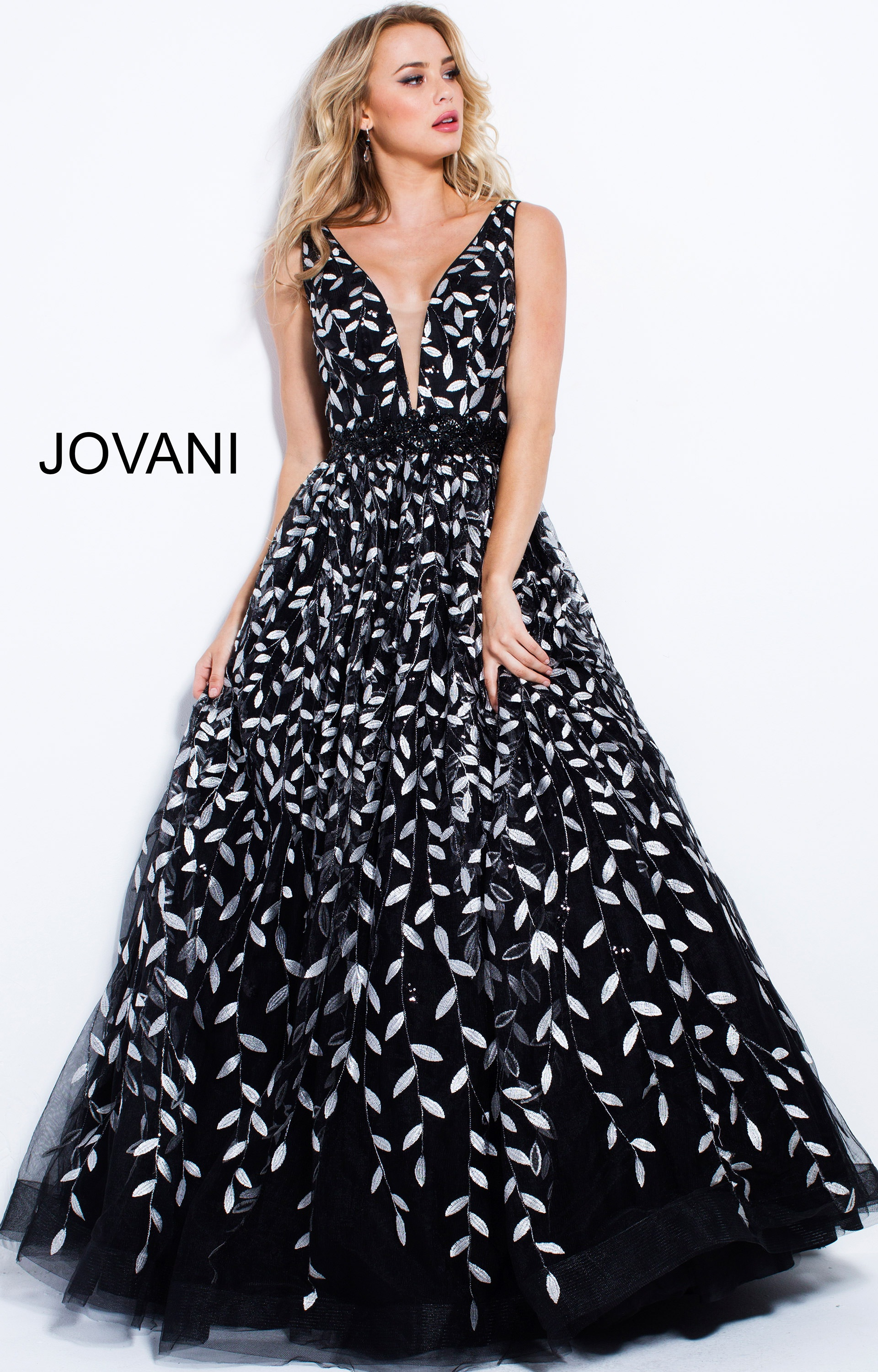 Jovani 55704 - Open Back Tulle Ball Gown Prom Dress