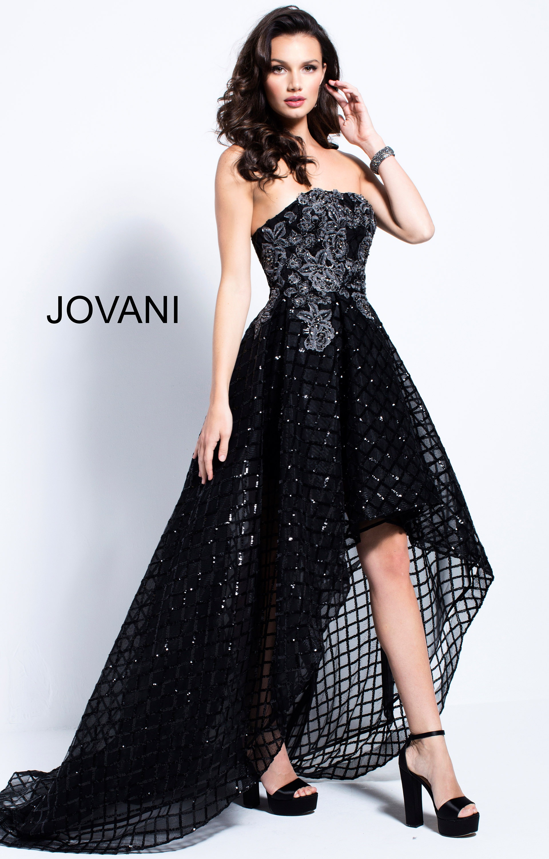 Jovani 55733 Tulle High Low Floral Sequin Prom Dress