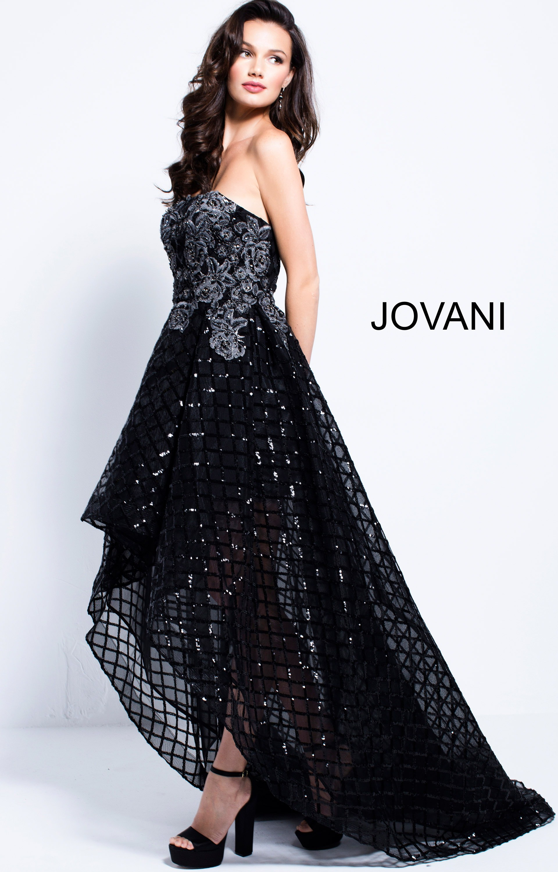 Jovani 55733 - Tulle High Low Floral Sequin Prom Dress