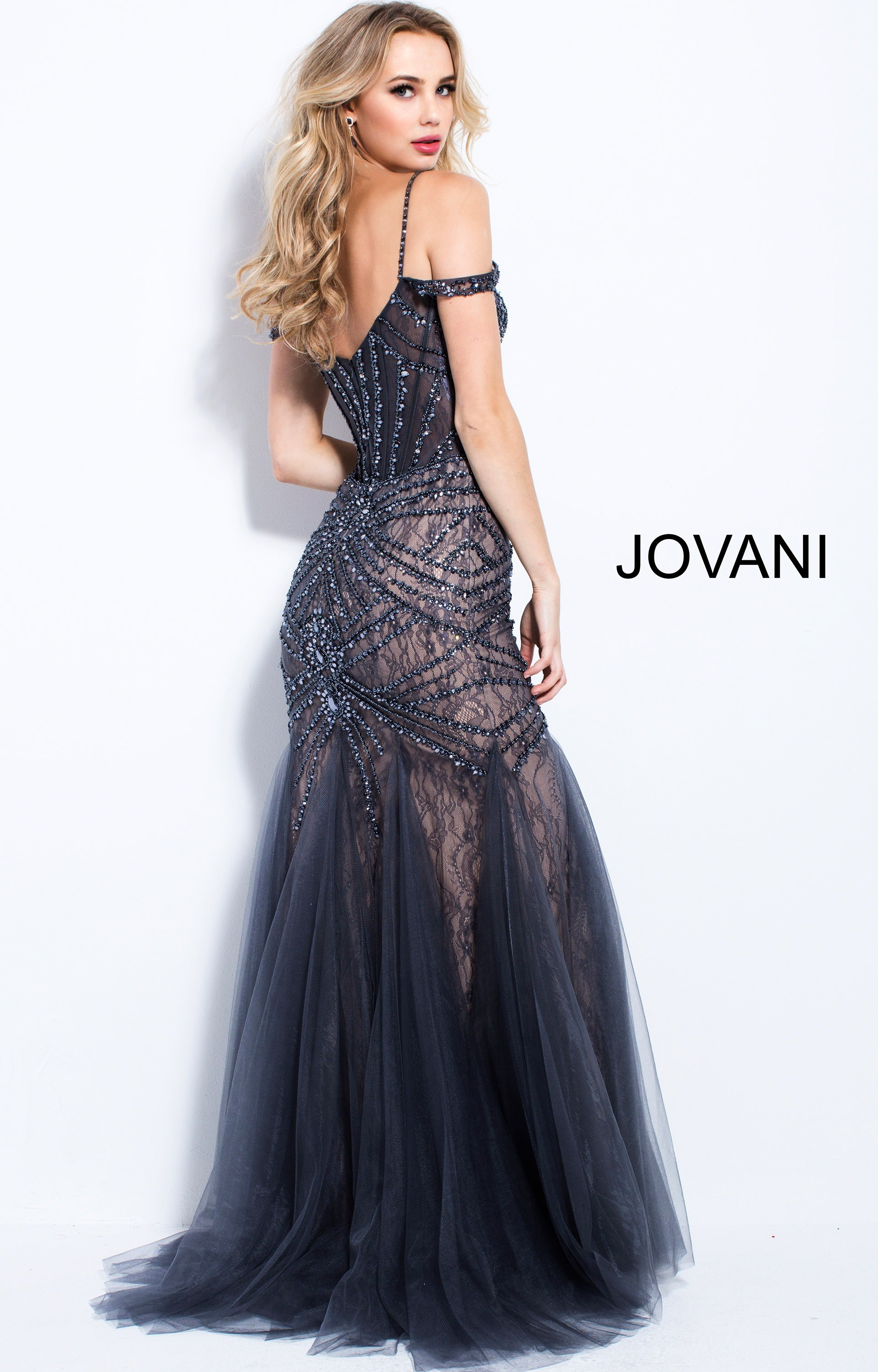 Jovani 55876 Off The Shoulder Beaded Mermaid Prom Dress