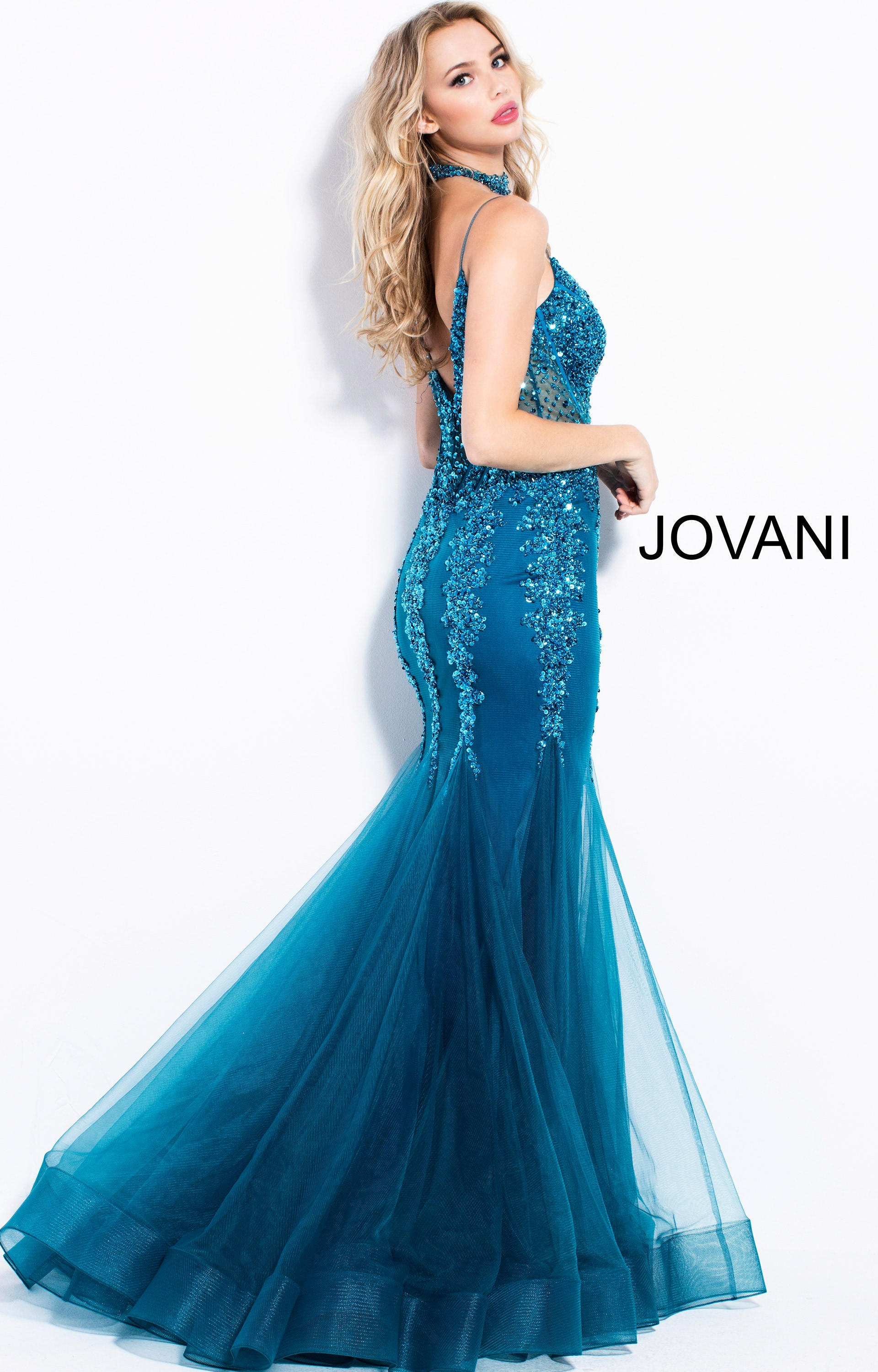 Jovani 56032 Shimmering Mermaid Dress With A Choker Prom