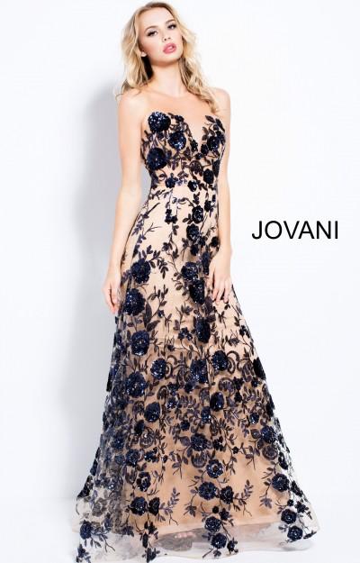 6251013fe3f Jovani 56046. High Neckline Flower Printed Long Dress  590.00