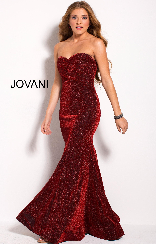 Jovani 56063 Strapless Sweetheart Neckline Shimmering