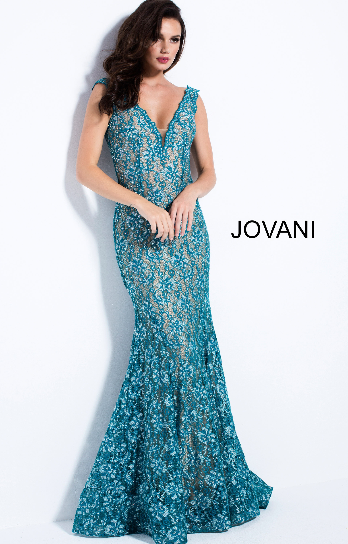 Jovani 57046 - Lace Mermaid V Neck Prom Dress