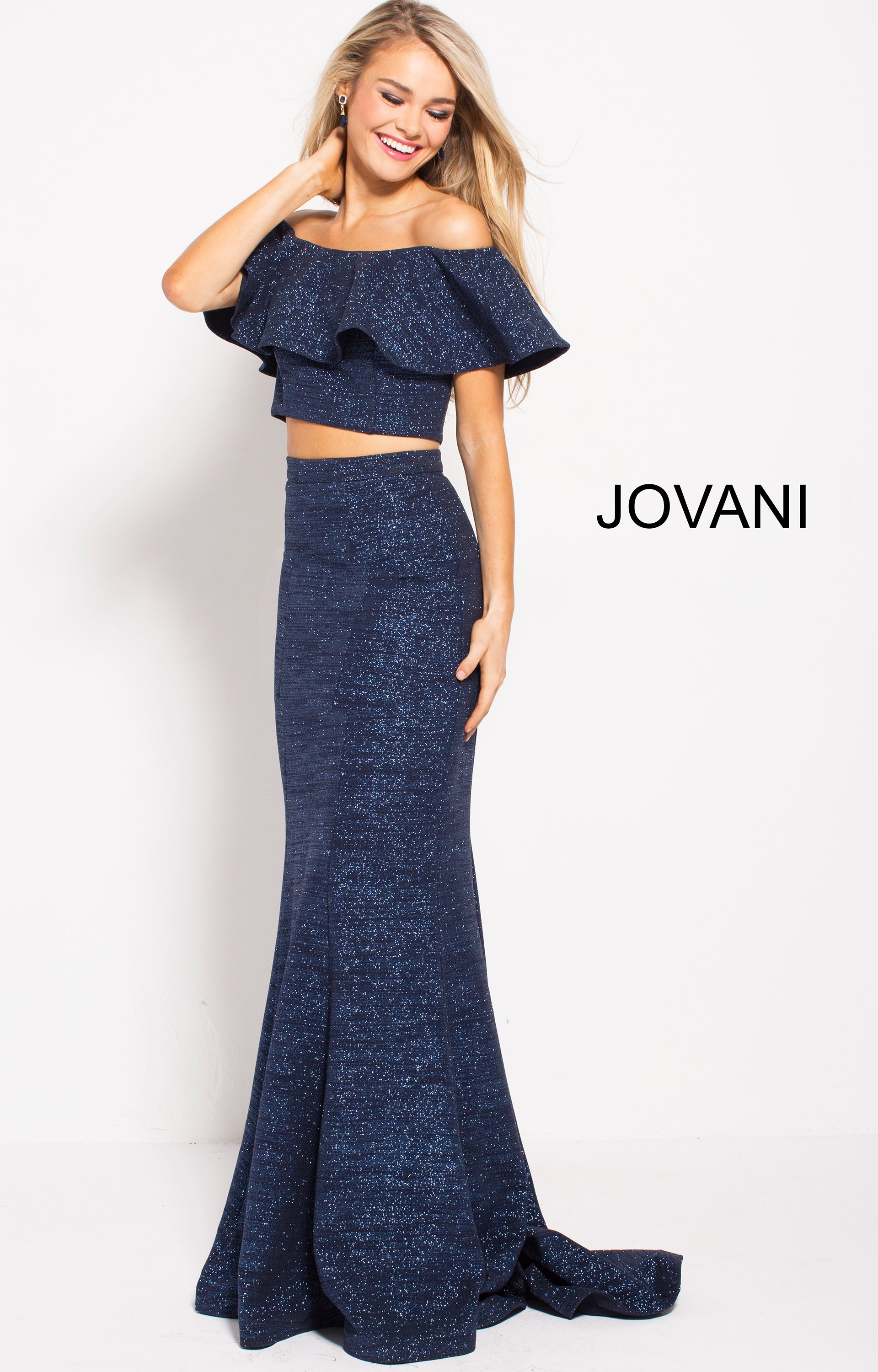 f85b7c8a694 Jovani 57258 - Fitted Off The Shoulder Two Piece Prom Dress