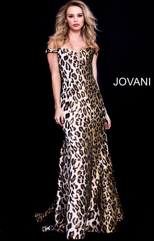 Jovani 57688 - Off the Shoulder Sexy Cheetah Print Formal Dress Prom Dress 5858ed4f4