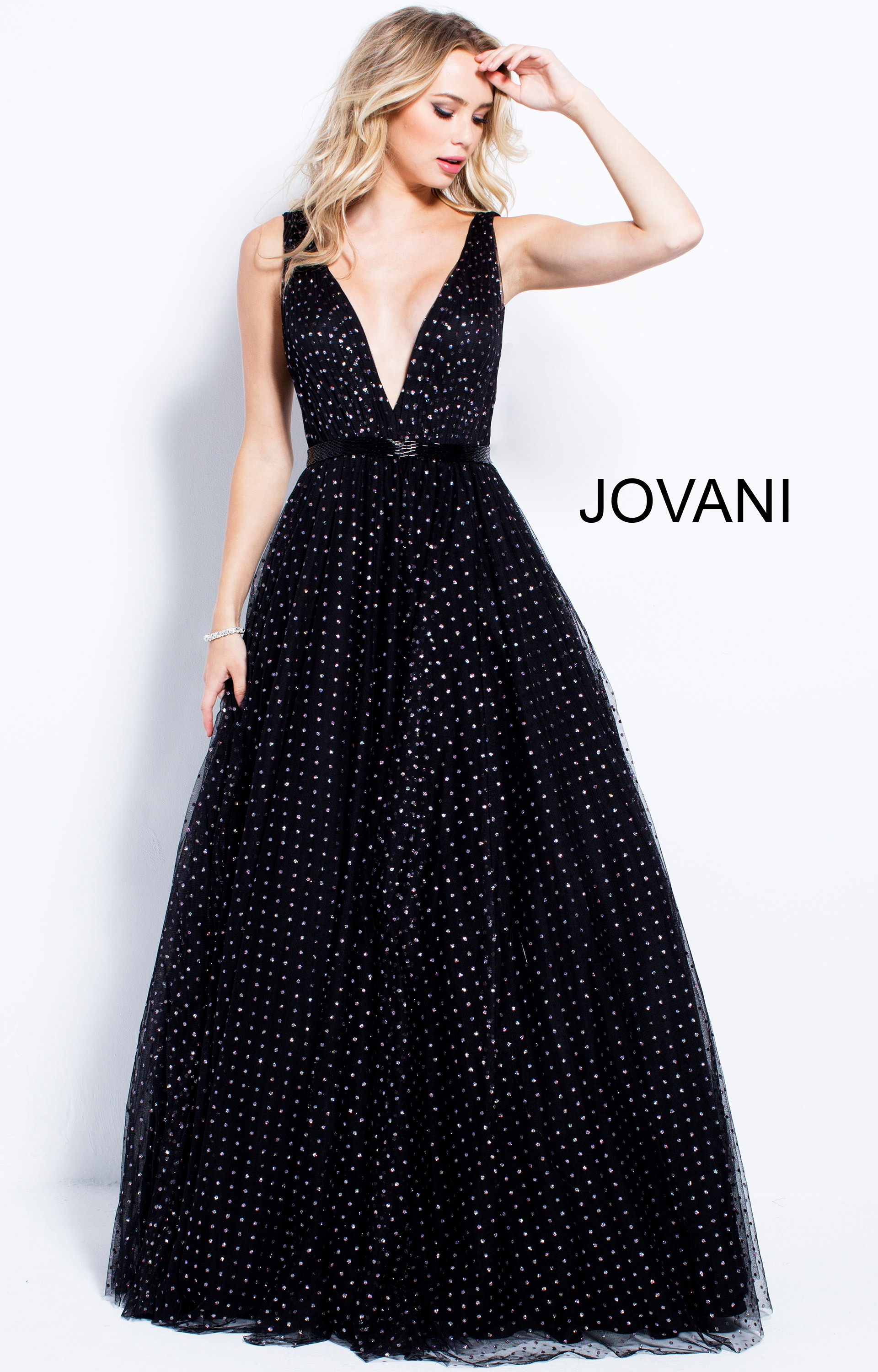 Jovani 57696 - V-Neckline Polka Dotted Ball Gown Dress Prom Dress