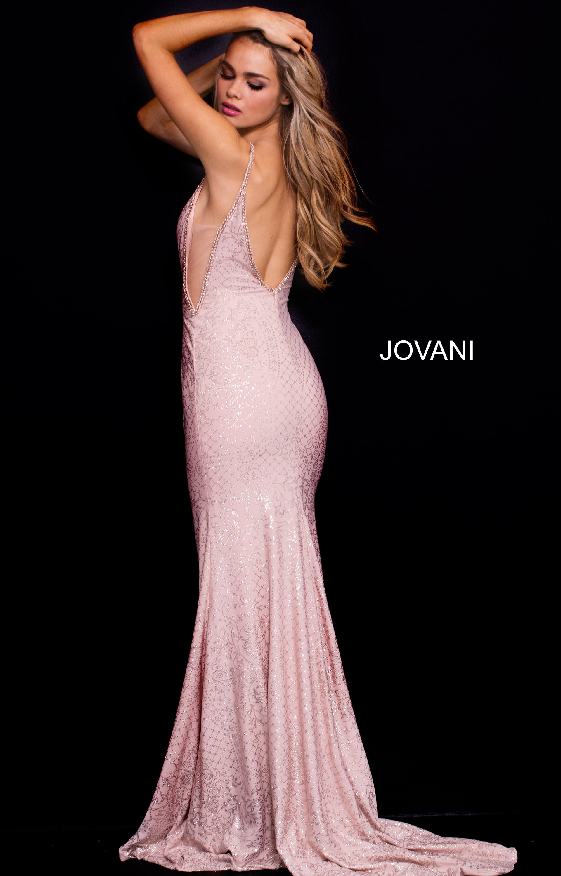c1210e1d4065 Jovani 57897 - Fitted Embellished Dress with Thin Straps