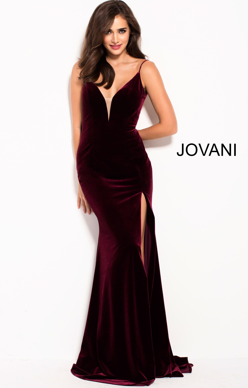557651506d Jovani 57898 - V-Neckline High Slit Fitted Velvet Dress