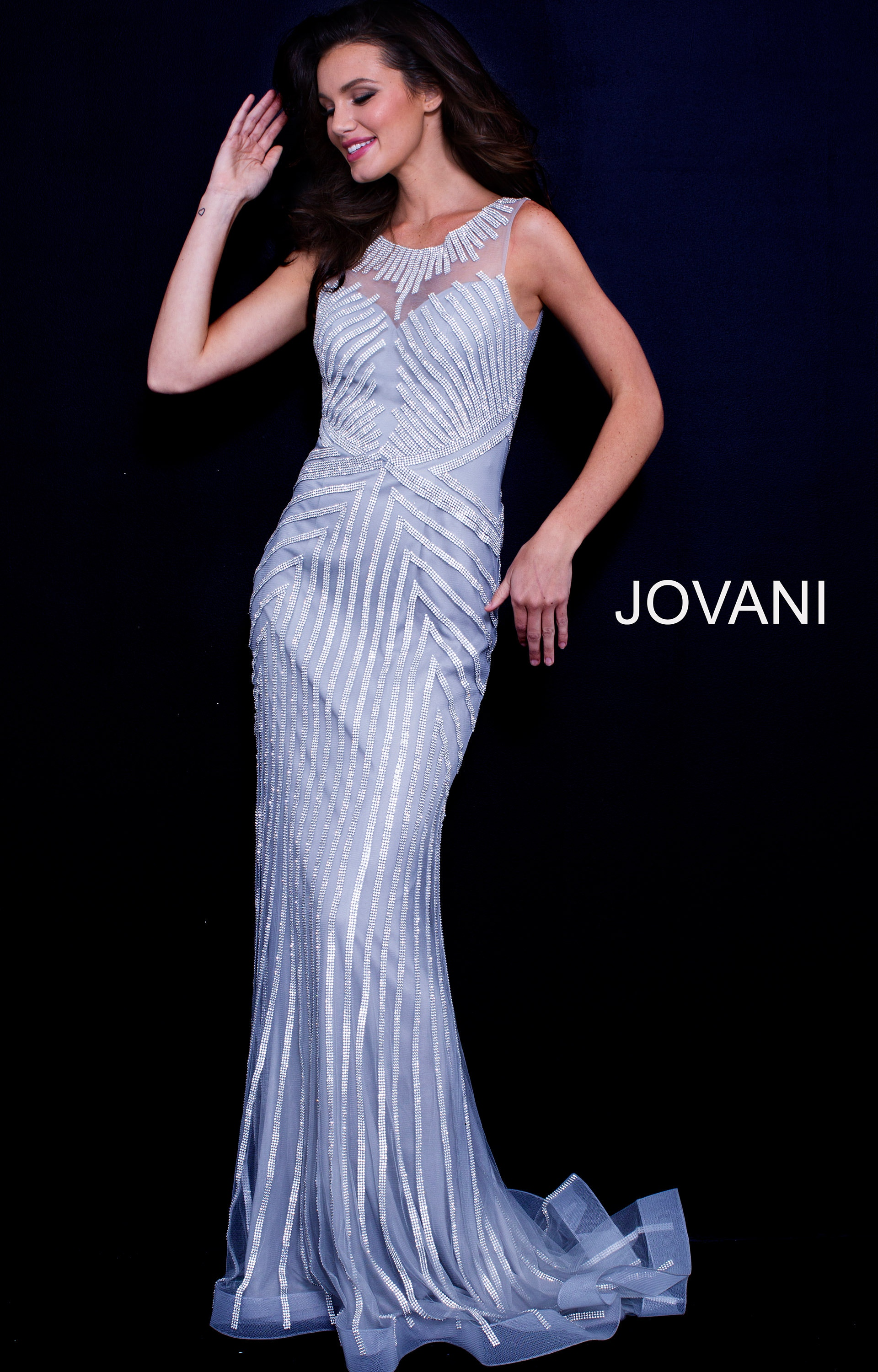 Jovani 58150 - Long High Neck Gown with Train Prom Dress