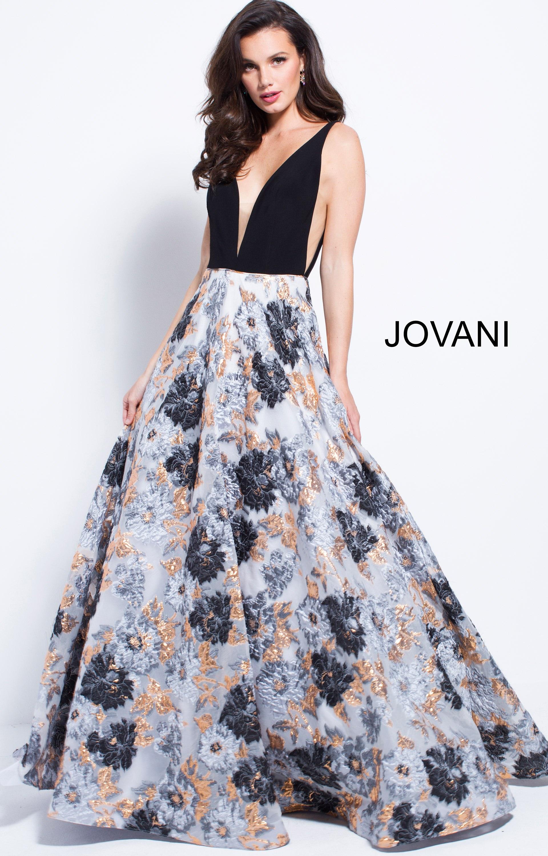 Jovani 58207 - V-Neckline Open Back Floral Print Ball Gown Prom Dress