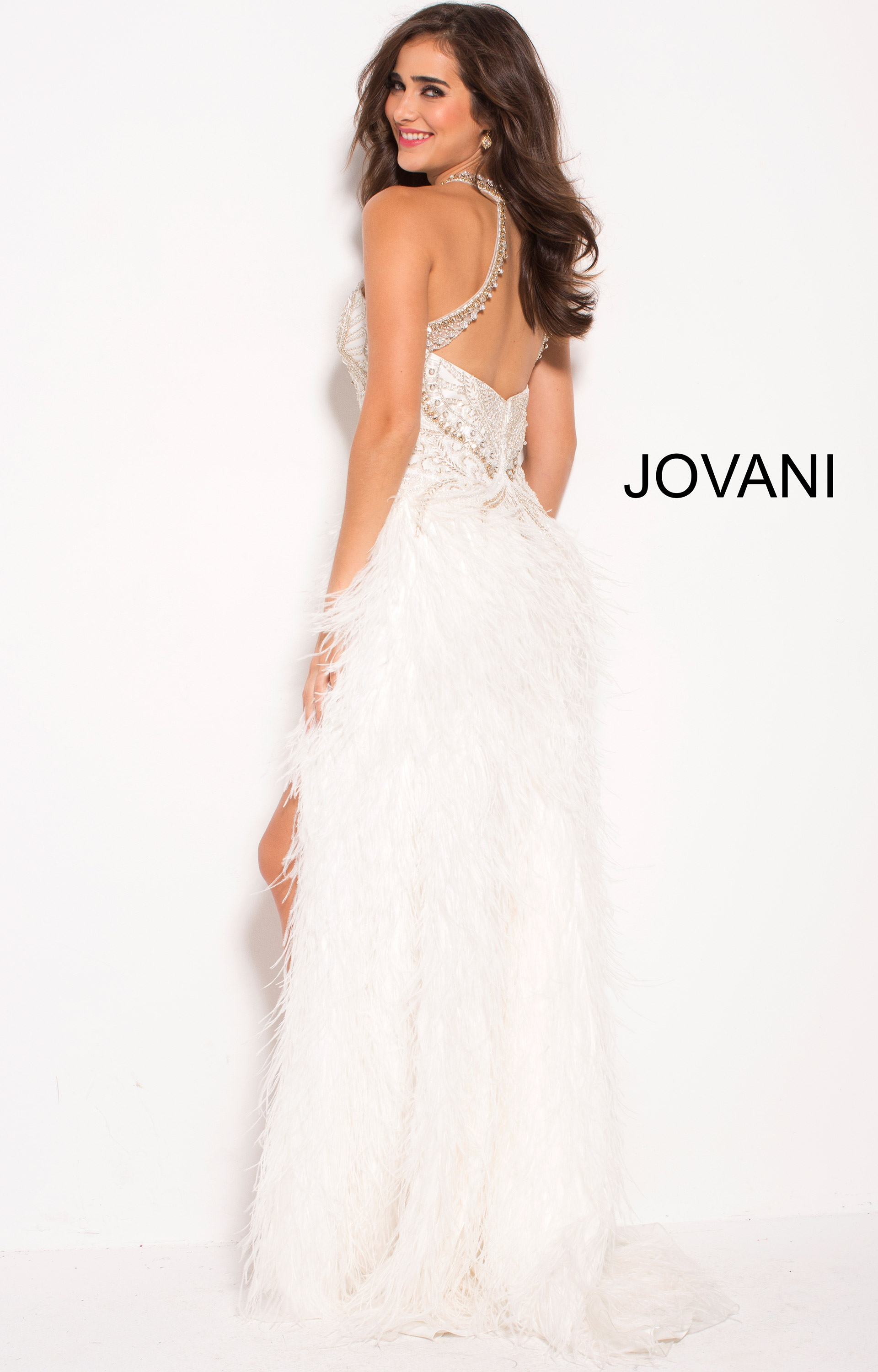 Jovani 58331 High Neckline High Low Feather Dress Prom Dress
